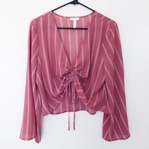 Leith Bell Sleeve Ruched Front Top